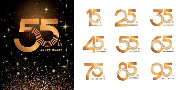 Set of Logo Anniversary logotype design, Celebrate Anniversary Logo