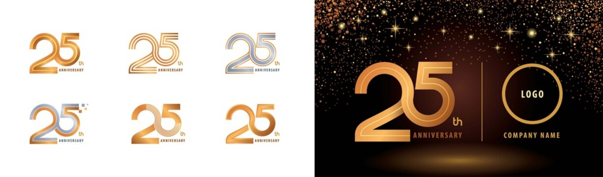 Set of 25th Anniversary logotype design, Twenty five years Celebrate Anniversary Logo