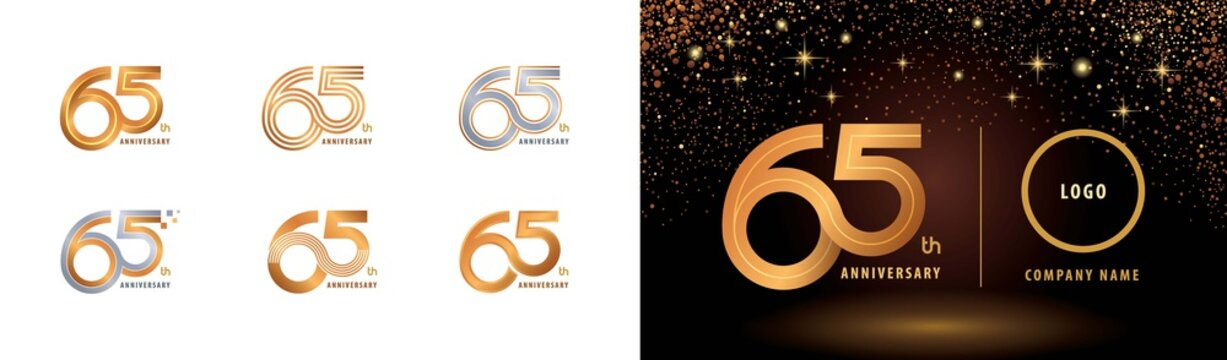 Set of 65th Anniversary logotype design, Sixty five years Celebrate Anniversary Logo