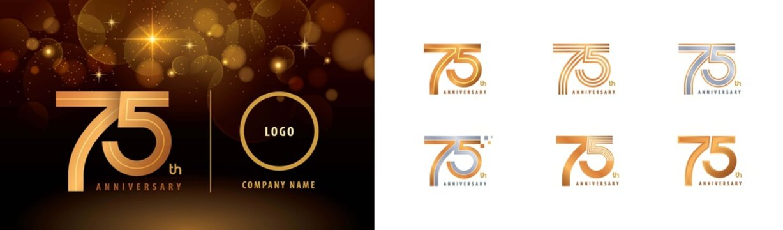 Set of 75th Anniversary logotype design, Seventy five years Celebrate Anniversary Logo