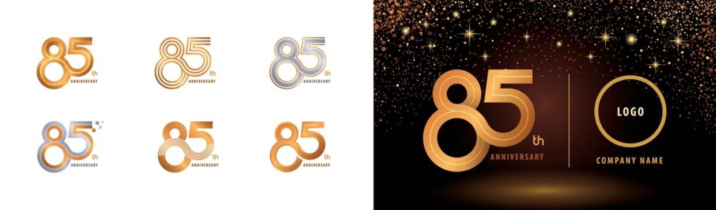 Set of 85th Anniversary logotype design, Eighty five years Celebrate Anniversary Logo