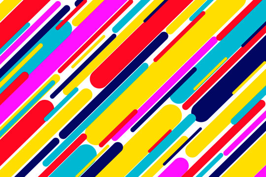 Geometric lined trendy pop art colors vector design. Stripes pattern of pink, purple, blue and yellow bright pop art style colors. Multicolor paint brush pattern, hipster web design for advertising
