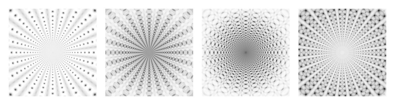 Abstract Geometric Pattern. Set of Four Design Units in the Same Style. Black and White Abstraction