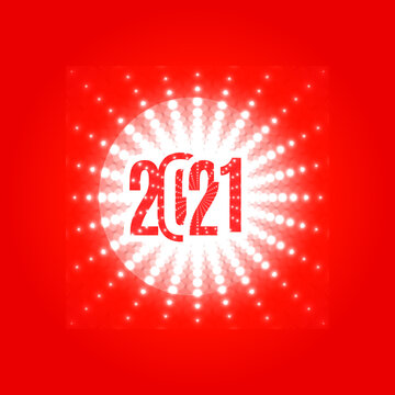 2021 New Year Logo. Number 2021 on a Stylish White Glowing Snowflake on a Red Background. Creative Design for Initations, Greeting Cards, Banners, Posters