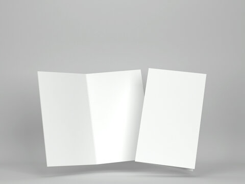 Blank greeting card or brochure mockup