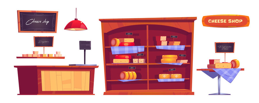 Cheese shop products and interior stuff, store with varieties of dairy or milky production on shelves with price tags, tasting desk, cashier, chalk signboard, Cartoon illustration, isolated icons set
