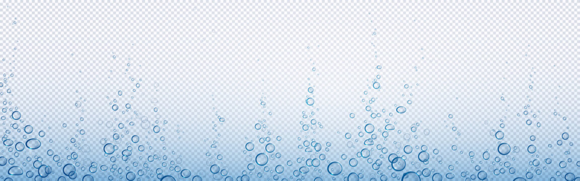 Soda bubbles, water or oxygen air fizz, carbonated drink, underwater abstract background. Dynamic motion, transparent aqua with randomly moving fizzing moisture drops, realistic 3d vector illustration