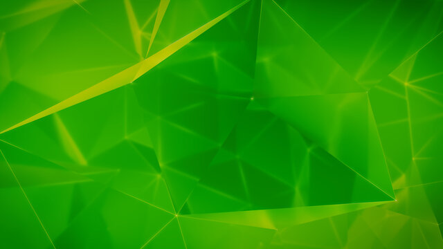 Futuristic, High Tech, green and yellow background, with network lines conveying a connectivity concept. 3D render