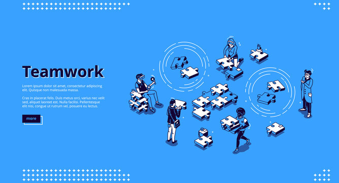 Teamwork isometric landing page. Business people team assembling separated puzzle pieces. Cooperation, partnership, creative collaboration of coworking colleagues concept 3d vector line art web banner