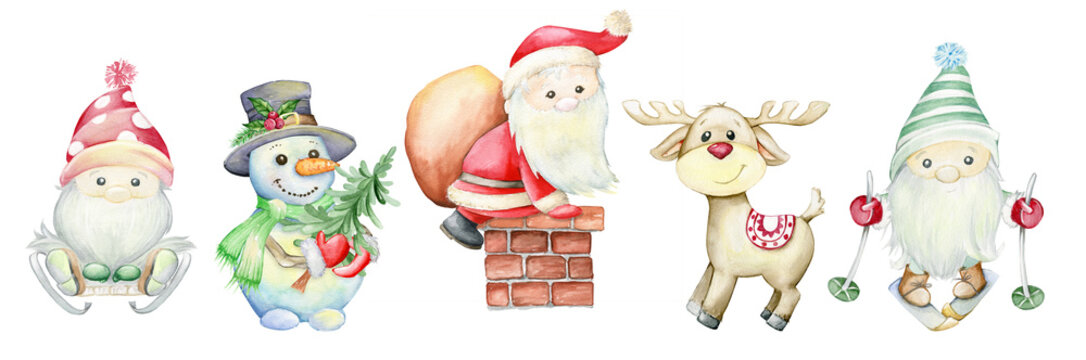 Santa Claus, reindeer, gnomes, snowman. Watercolor cartoon characters on an isolated background for Christmas invitations and greeting cards
