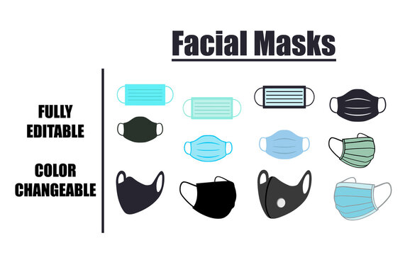 Twelve Facial Masks Set Vector Design. This is fully editable and colour changeable.