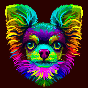 Chihuahua dog. Abstract, neon color, artistic portrait of a cute Chihuahua dog with colored fur on a brown background. Digital drawing