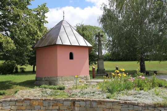 Little pink chapel near Luhačovice