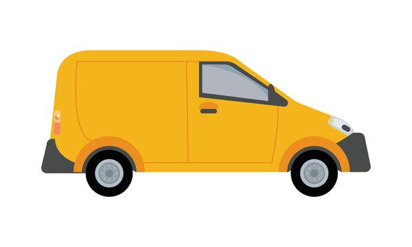 yellow van vehicle transport isolated icon
