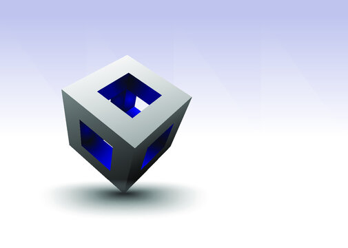 Blue and silver hollow cube copy space. A blue and silver hollow cube balanced on a corner reveals a colorful interior with copy space.