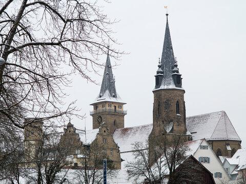 Stadtansicht von Öhringen in Deutschland im Winter