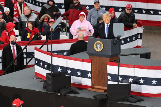 U.S. President Donald Trump holds a campaign rally at Capital Region International Airport in Lansing, Michigan