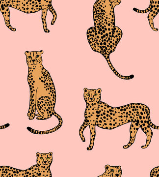 Seamless repeat pattern with hand drawn doodle sketched cheetah or leopard in different poses, half drop on a soft pink blush background