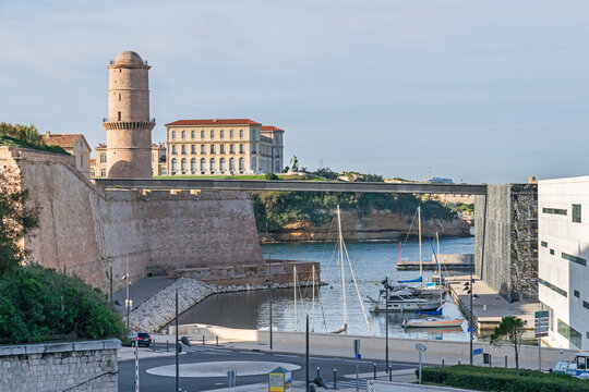 Historic port area with Esplanade J4, Fort Saint-Jean, palace Palais du Pharo and MuCEM in Marseille, France