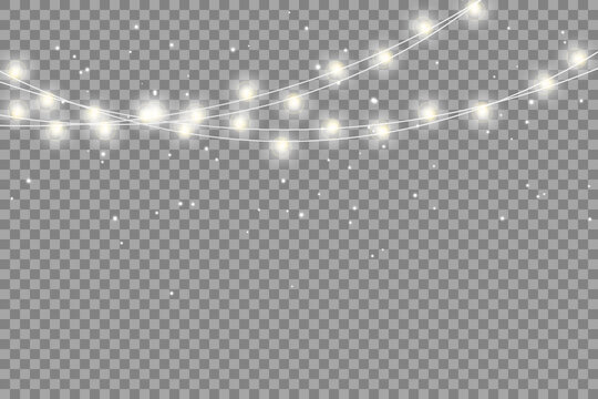 Christmas lights isolated realistic design elements. Glowing lights for Xmas Holiday cards, banners, posters, web design.