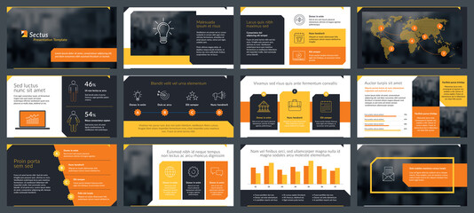Presentations templates elements and infographics in vector design. Business template for presentation slide, corporate report, marketing, flyer and leaflet,  advertising, annual report and banner. - fototapety na wymiar
