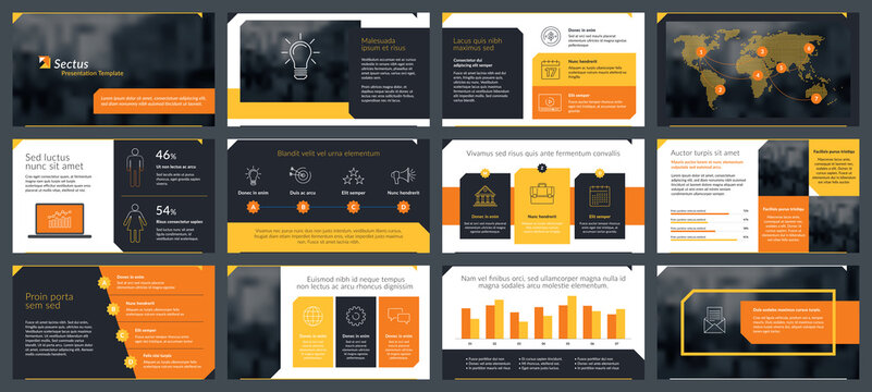 Presentations templates elements and infographics in vector design. Business template for presentation slide, corporate report, marketing, flyer and leaflet,  advertising, annual report and banner.