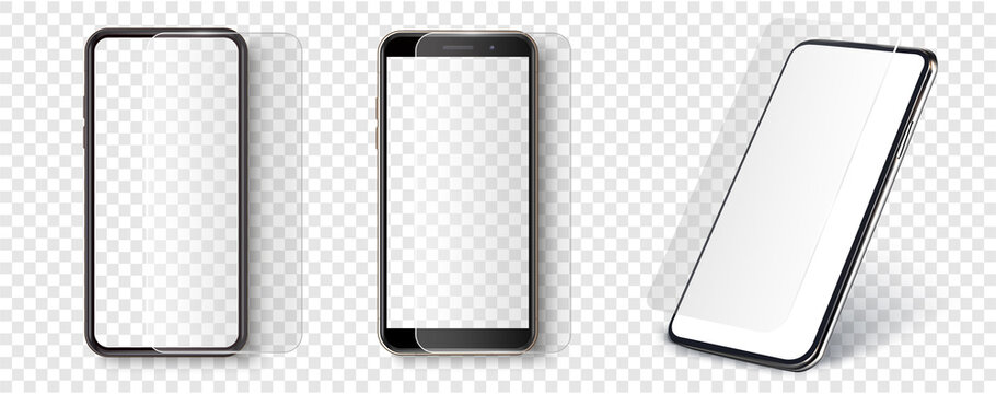 Screen Protector Glass. Transparent tempered glass shield for mobile phone. Smartphone screen and mobile with protection display coating. Mockup phone for visual ui app demonstration. Vector
