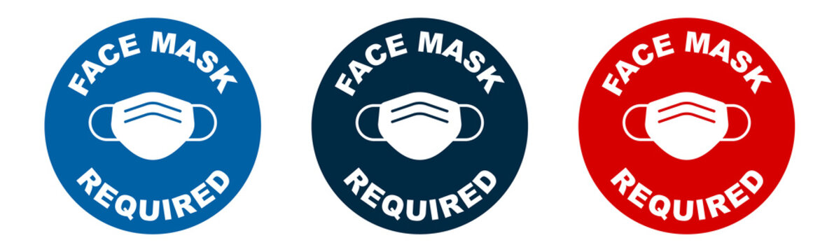Set of face mask required vector signs. Facemask or covering must be worn in shops or public spaces during coronavirus covid-19 social distancing pandemic. Variety set of vector icons.