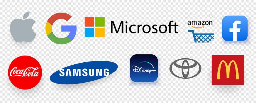TOP 10 most expensive brands in the world in 2020. Logo Apple,Google,Microsoft,Amazon,Facebook,Coca-Cola,Samsung,Disney,Toyota,McDonald's