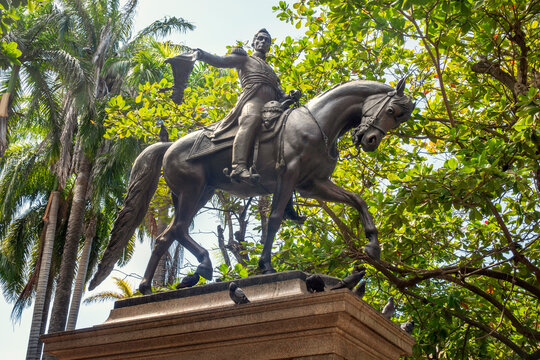 Statue of Simon Bolivar in Cartagena, Colombia