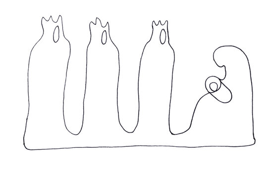 Christmas, mother and child, adoration of the magi, graphic black and white linear sketch on a white background