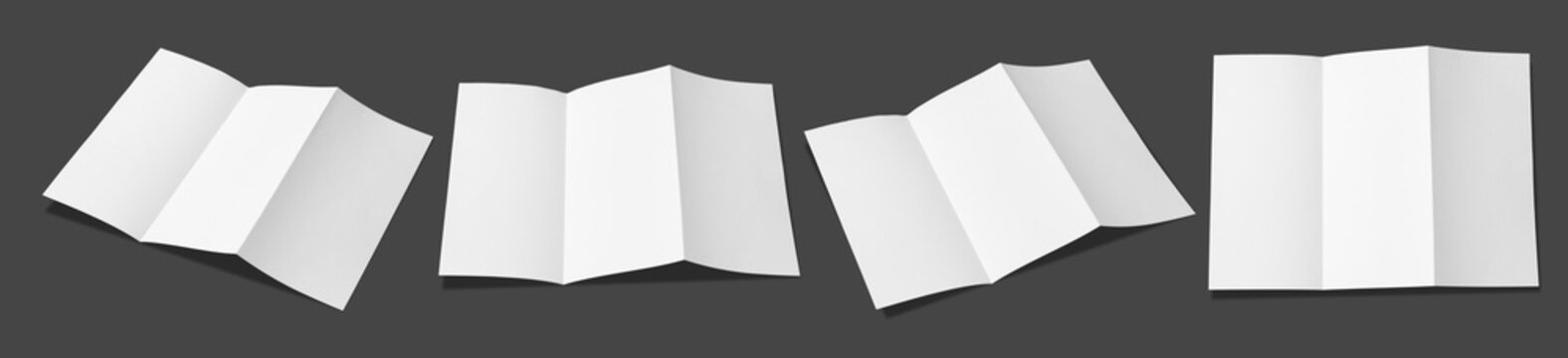 Leaflet folded white paper really,Fold in three parts,Open leaflet in square format.Empty paper sheet in A4 size isolated on gray background. Flat ray papers ,studio shot