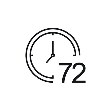72 hour, clock icon isolated on white background