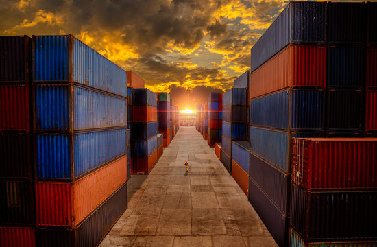 Dock worker logistics under checking containers cargo shipping warehouse , loading for business logistic import and export freight transportation with sun sky background.