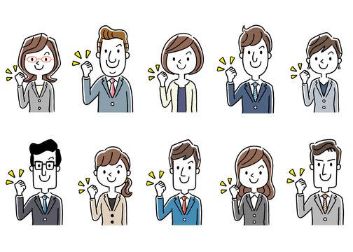 イラスト素材:スーツ姿の男女、ビジネス、セット、やる気