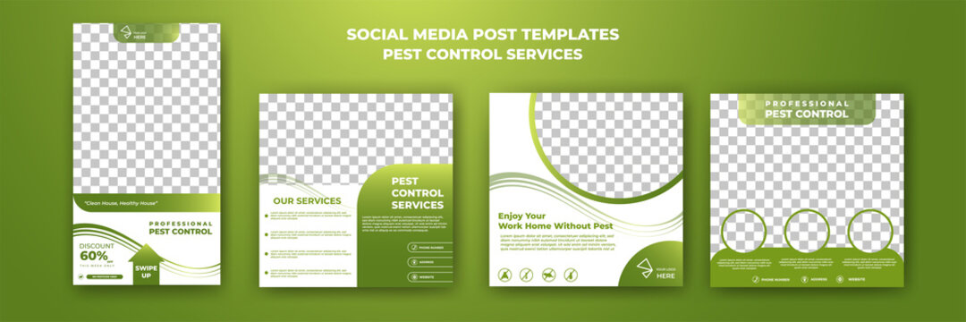 Set of editable square background template. Pest control social media post template. Green color background with photo collage. Usable for social media post, story and web internet ads.