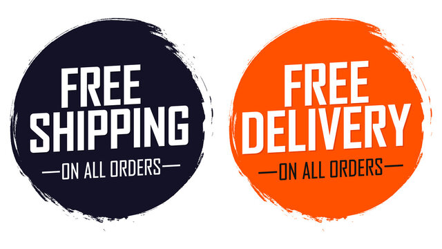Free Shipping and Free Delivery tags, promo banners design template, vector illustration