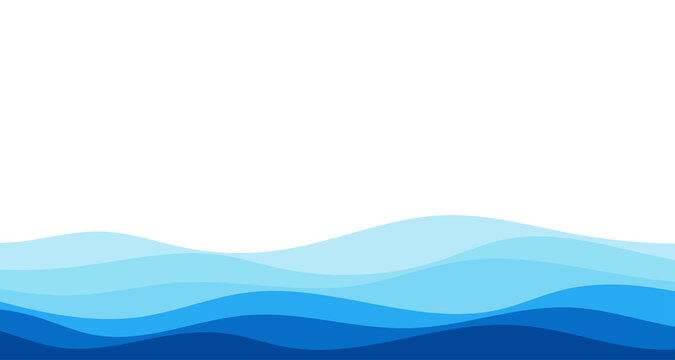 Blue river ocean wave layer vector background