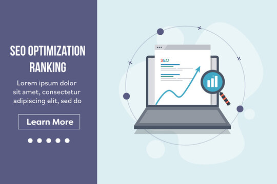 Seo optimization, search engine ranking, search engine result page displaying on laptop screen with magnifying glass and increasing graph. Landing page vector template.