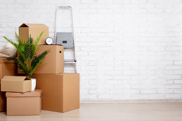 moving day concept - cardboard boxes, houseplants and other things over white brick wall background