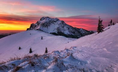 Winter mountain  landscape in Mala Fatra on hill Velky Rozsutec in Slovakia