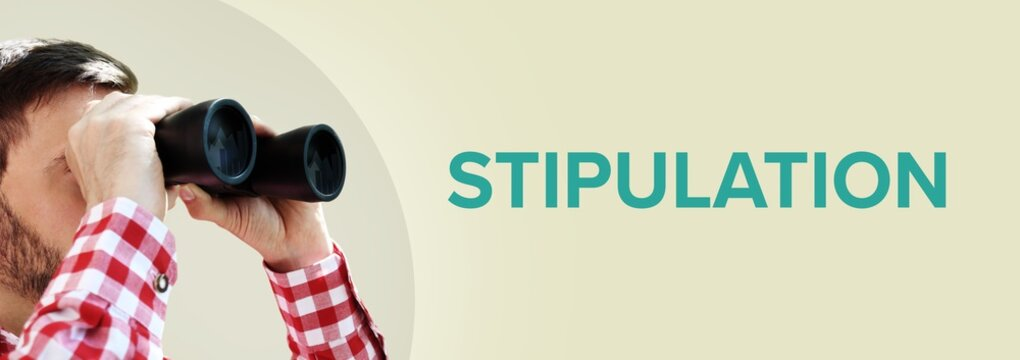 Stipulation. Man observing with binoculars. Turquoise Text/word on beige background. Panorama