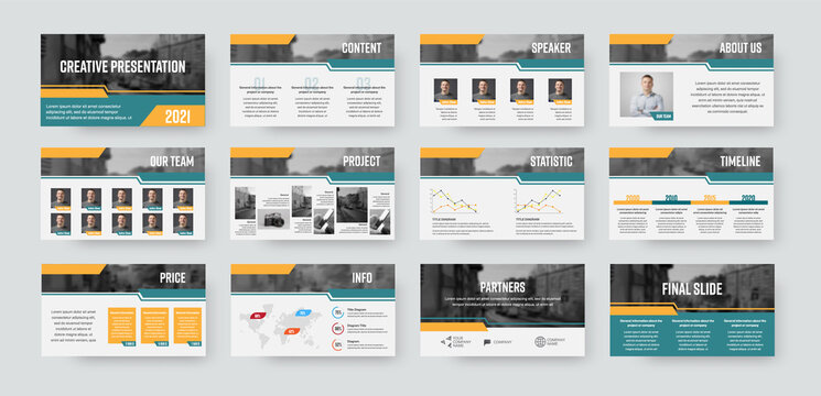 Presentation slide template, vector infographics ready to use for annual report, statistics, information with corporate style.