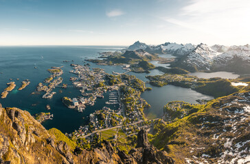 Svolvaer city in lofoten island located in north of norway behind the arctic circle. Panoramatic photography of beautiful ladnscape around the city. ocean and mountains.