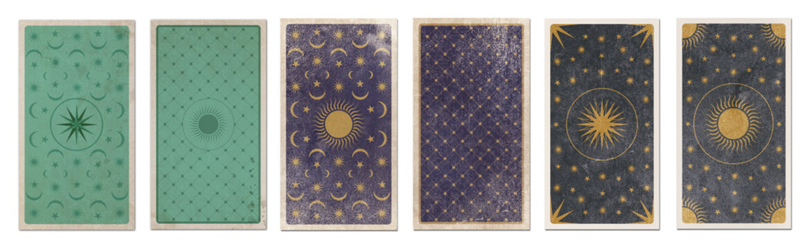 Back of Tarot card decorated with stars, sun and moon. Esoteric symbols on aged background, retro style. Isolated.