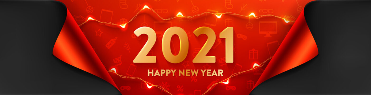 2021 Happy New Year Promotion Poster or banner with LED String lights for Retail,Shopping or New year Promotion in red and black style.2021 Poster or banner template with golden text
