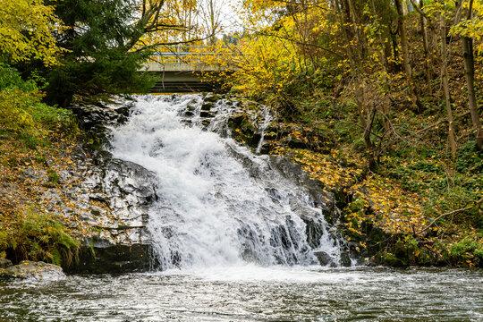 Sopotnia Waterfall on the stream in the village Sopotnia Wielka, Zywiec Beskids. Poland.