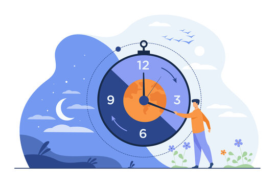 Man moving clock arrows and managing time. Planet, night and day in background. Vector illustration for circadian rhythms, daily routine, morning and evening change, planet movement concept