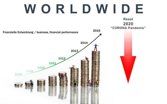 Weltwirtschaftskrise Corona Pandemie 2020 Darstellung