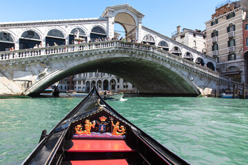 View of the Rialto Bridge from a gondola
